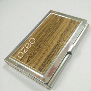 Hộp Name Card da PU gân gỗ vàng đồng   NC014