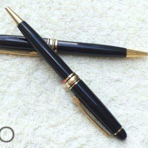 Bút kim loại xoay đen khoen vàng BK032