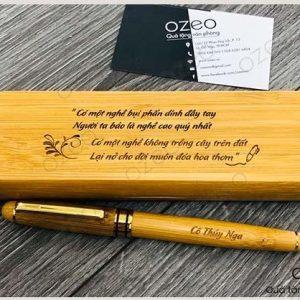 Bộ Quà Tặng Bút Tre Kèm Hộp Đựng Bút – Bamboo Pen Gift