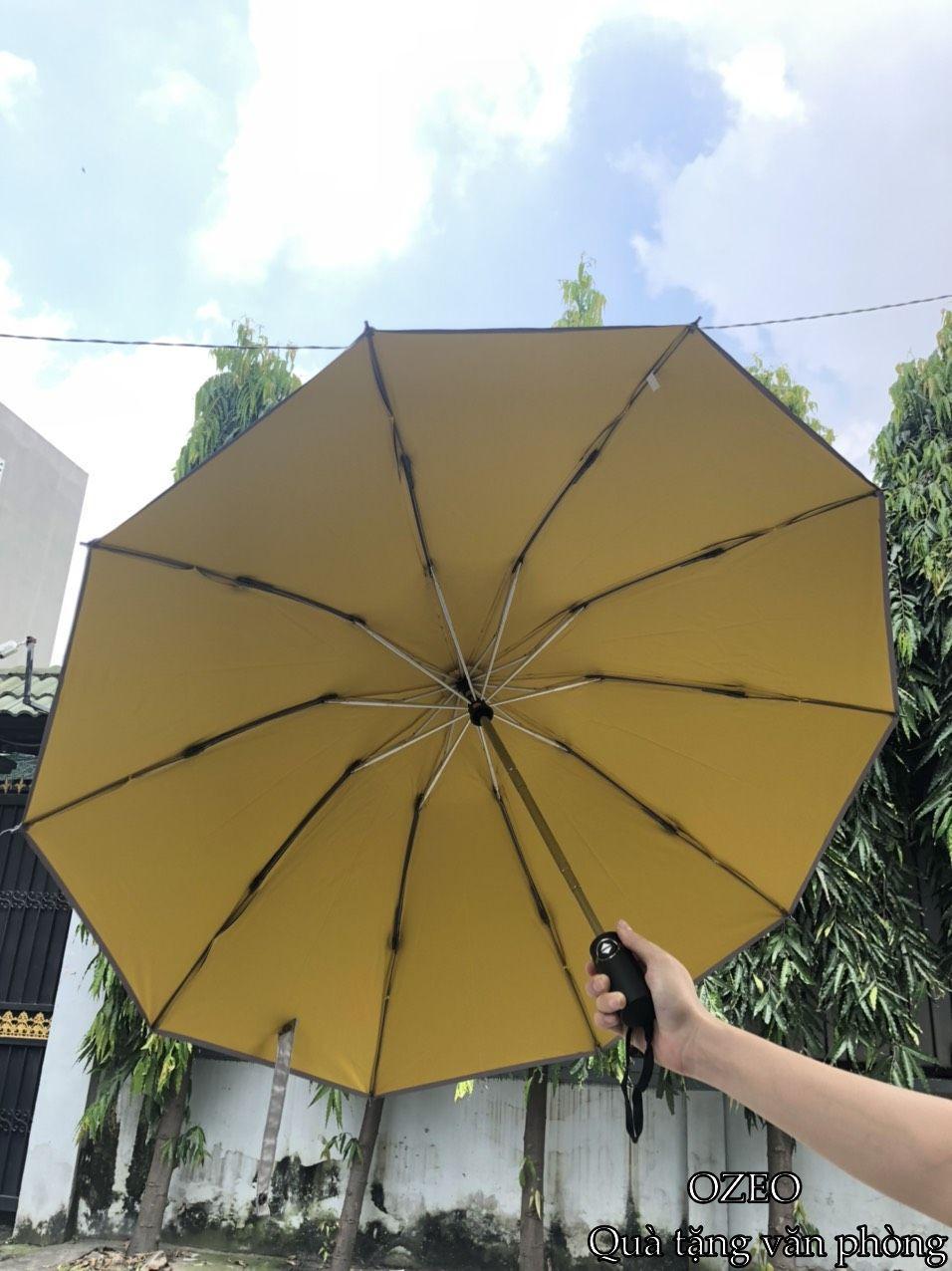 Ô dù cầm tay cao cấp tự động 2 chiều chống tia UV màu vàng