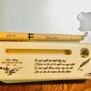 Bút gỗ & hộp bút gỗ khắc laser