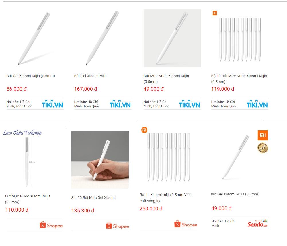 Giá tham khảo bút bi quảng cáo Xiaomi Mijia Gel trên thị trường