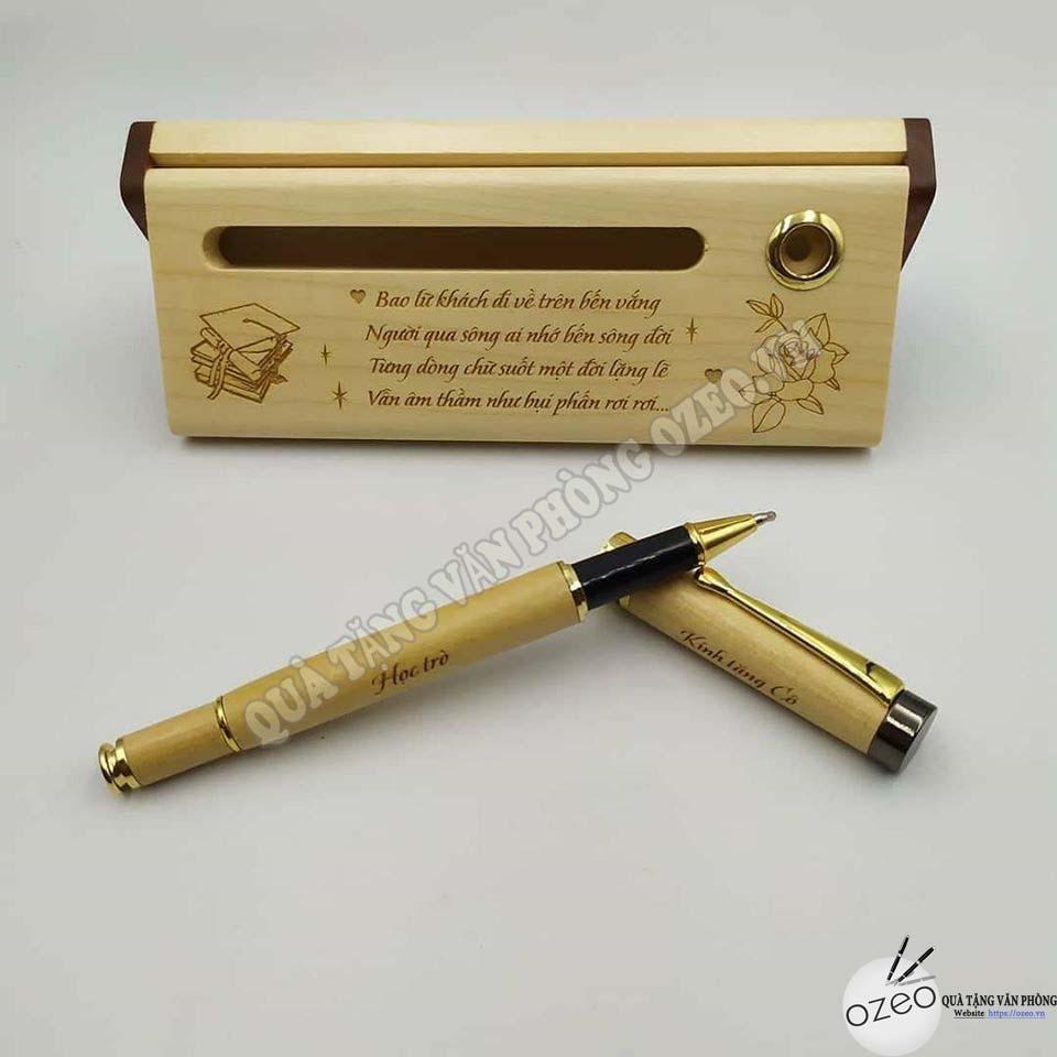 Hộp đựng bút gỗ quà tặng Tết thầy cô với thông điệp đặc biệt