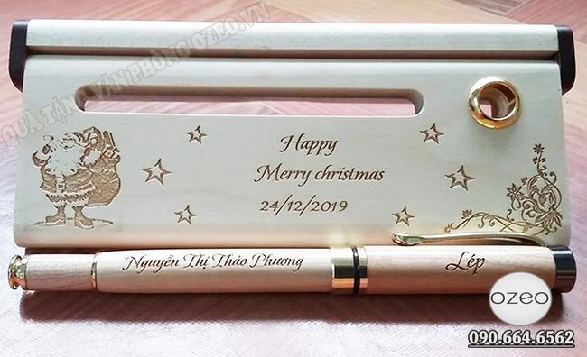 Hộp bút gỗ đẹp khắc ông già Noel làm quà tặng Giáng Sinh