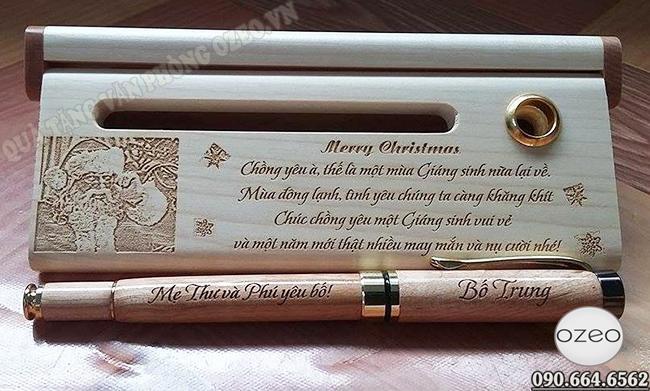 Bộ viết gỗ khắc chữ tặng chồng nhân dịp Noel