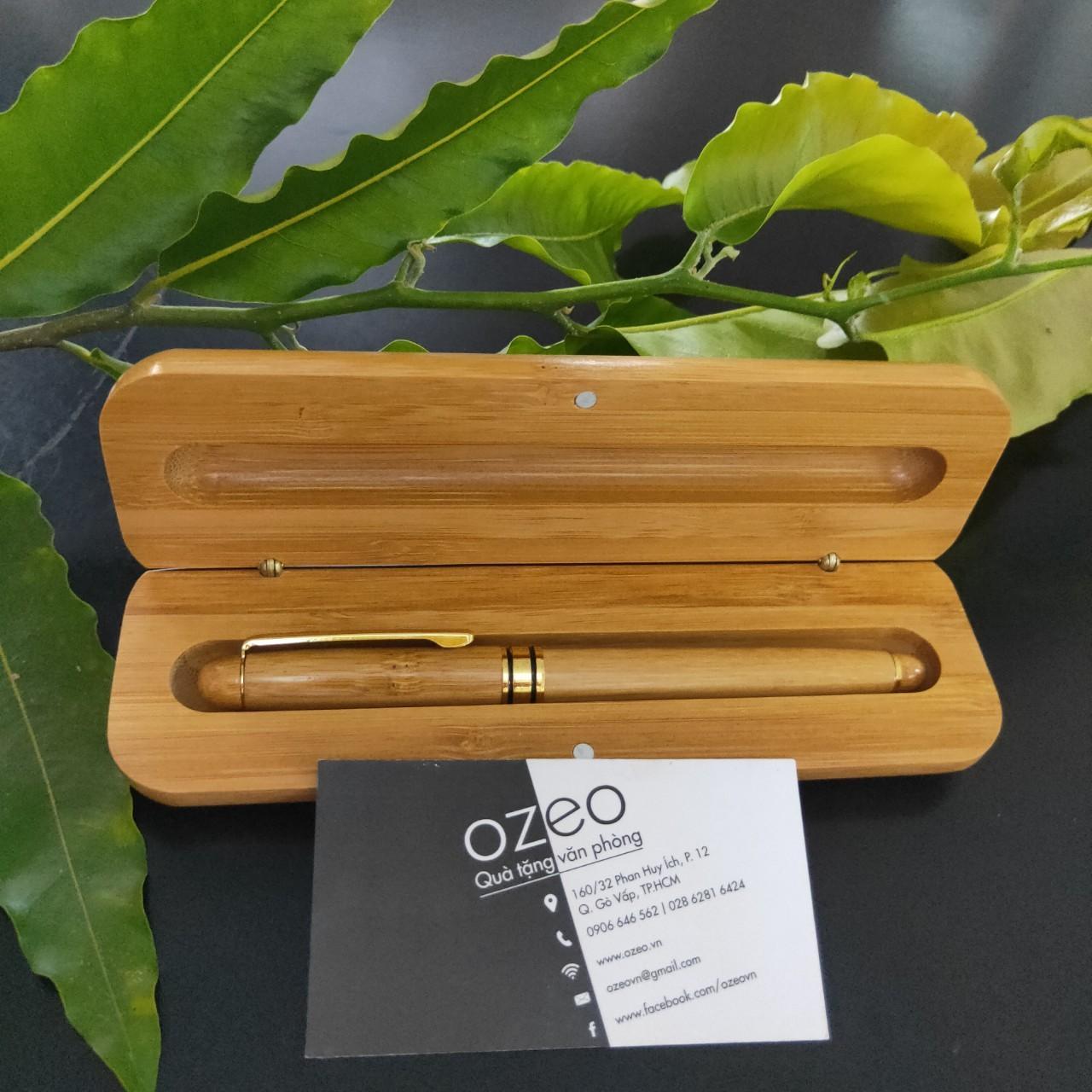 Phôi bút gỗ tre và hộp đựng bút bằng tre