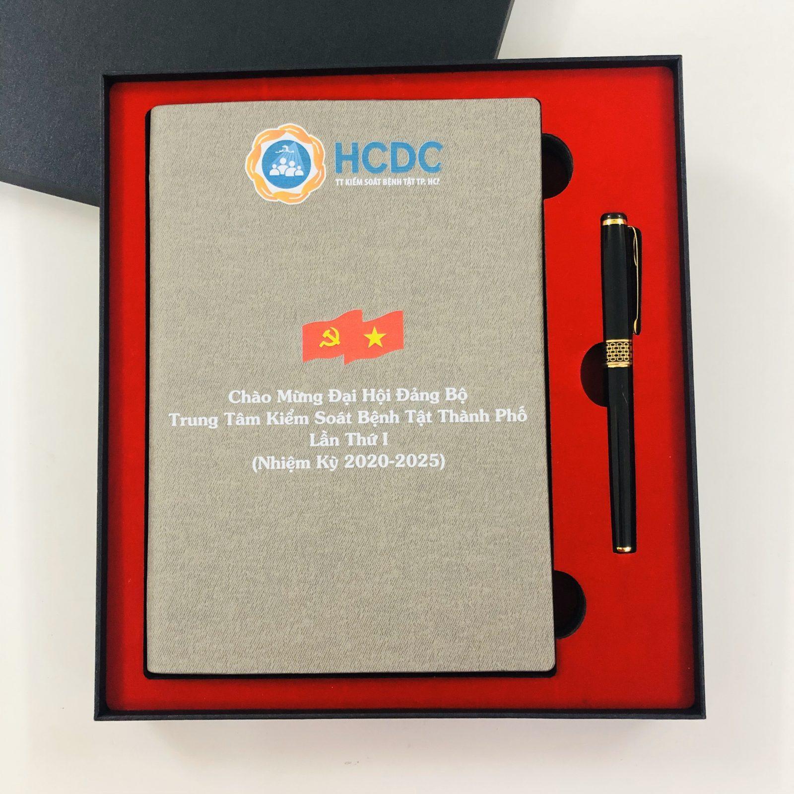 Sổ tay màu xám in logo làm quà tặng Đại hội Đảng