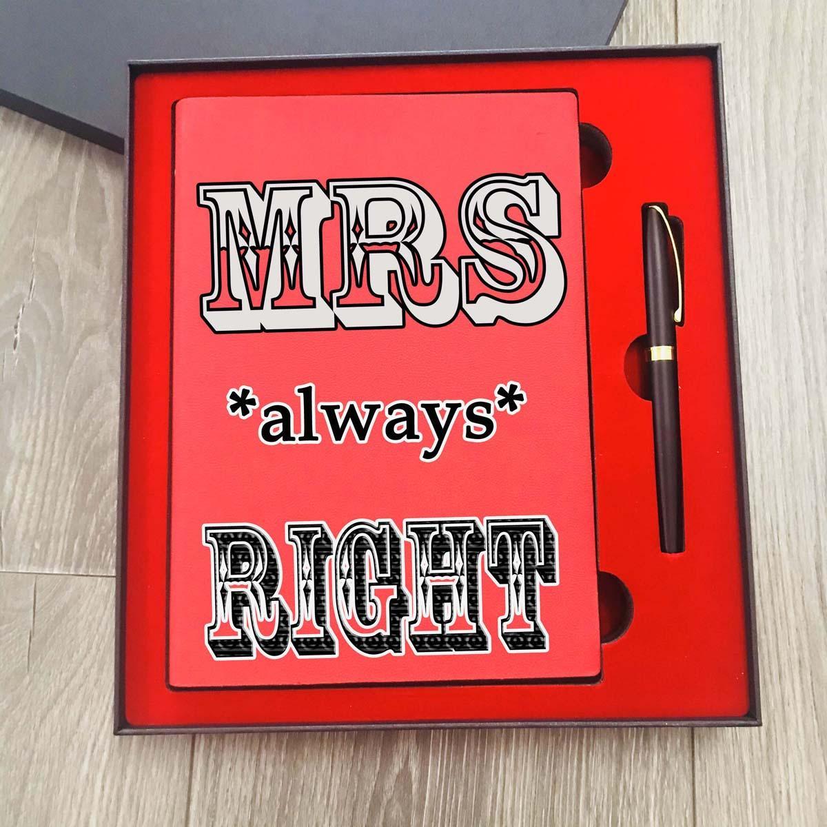 Bộ quà tặng Sổ tay in hình kèm bút kim loại khắc tên tặng vợ nhân ngày 8/3 độc đáo