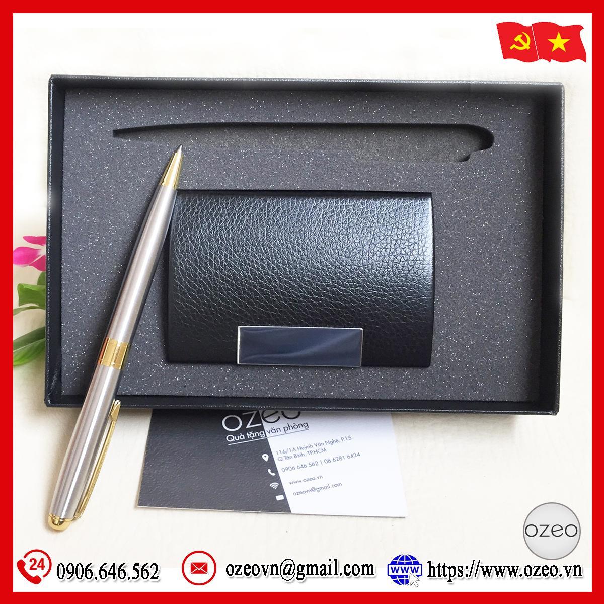 Bộ giftset bút kim loại BK14 và hộp đựng name card NC01