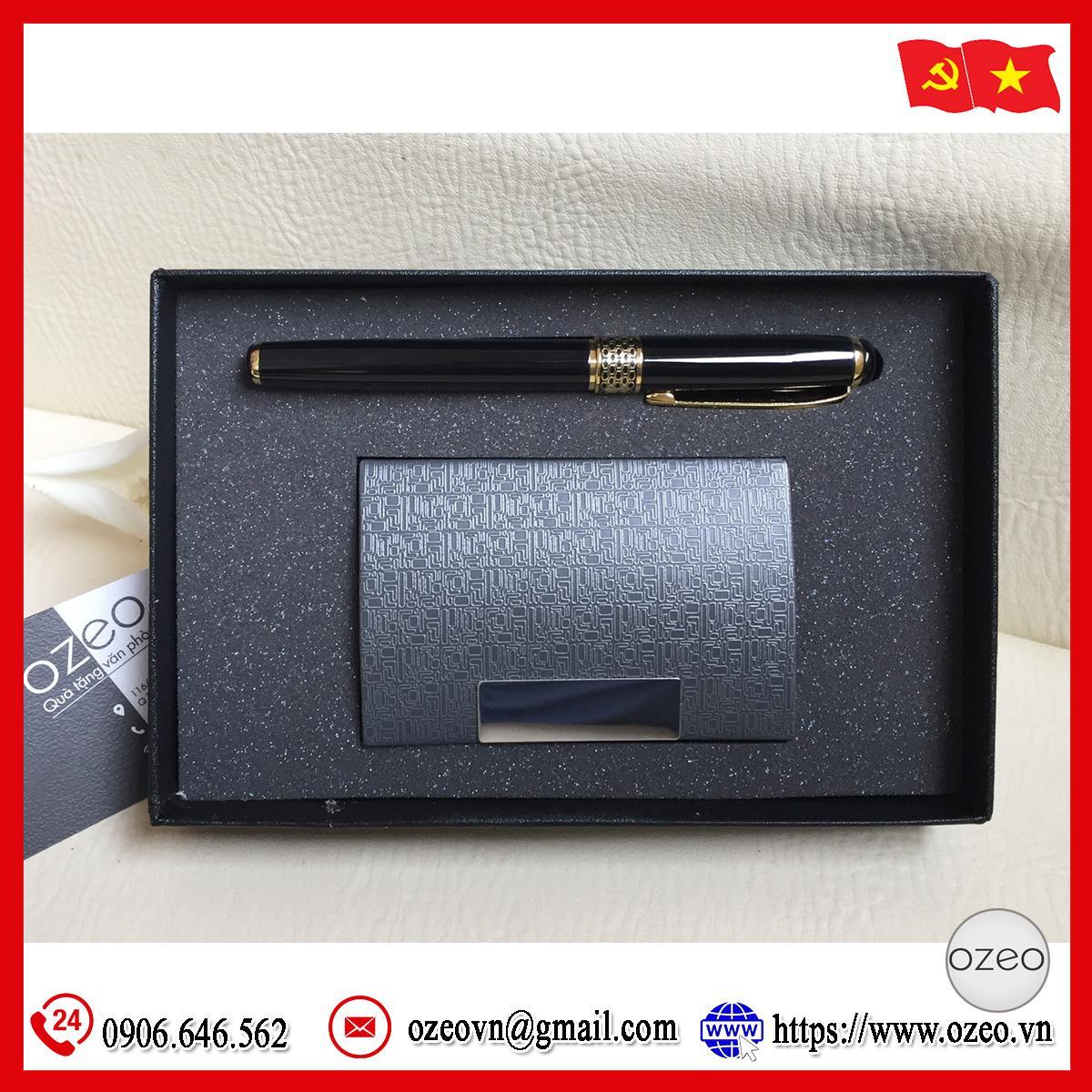 Bộ giftset bút kim loại BK061 và hộp đựng name card NC010