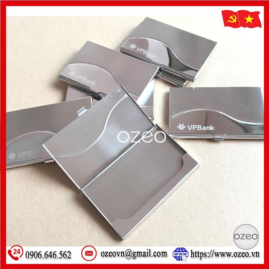 Hộp đựng name card kim loại NC061 khắc logo VPBank