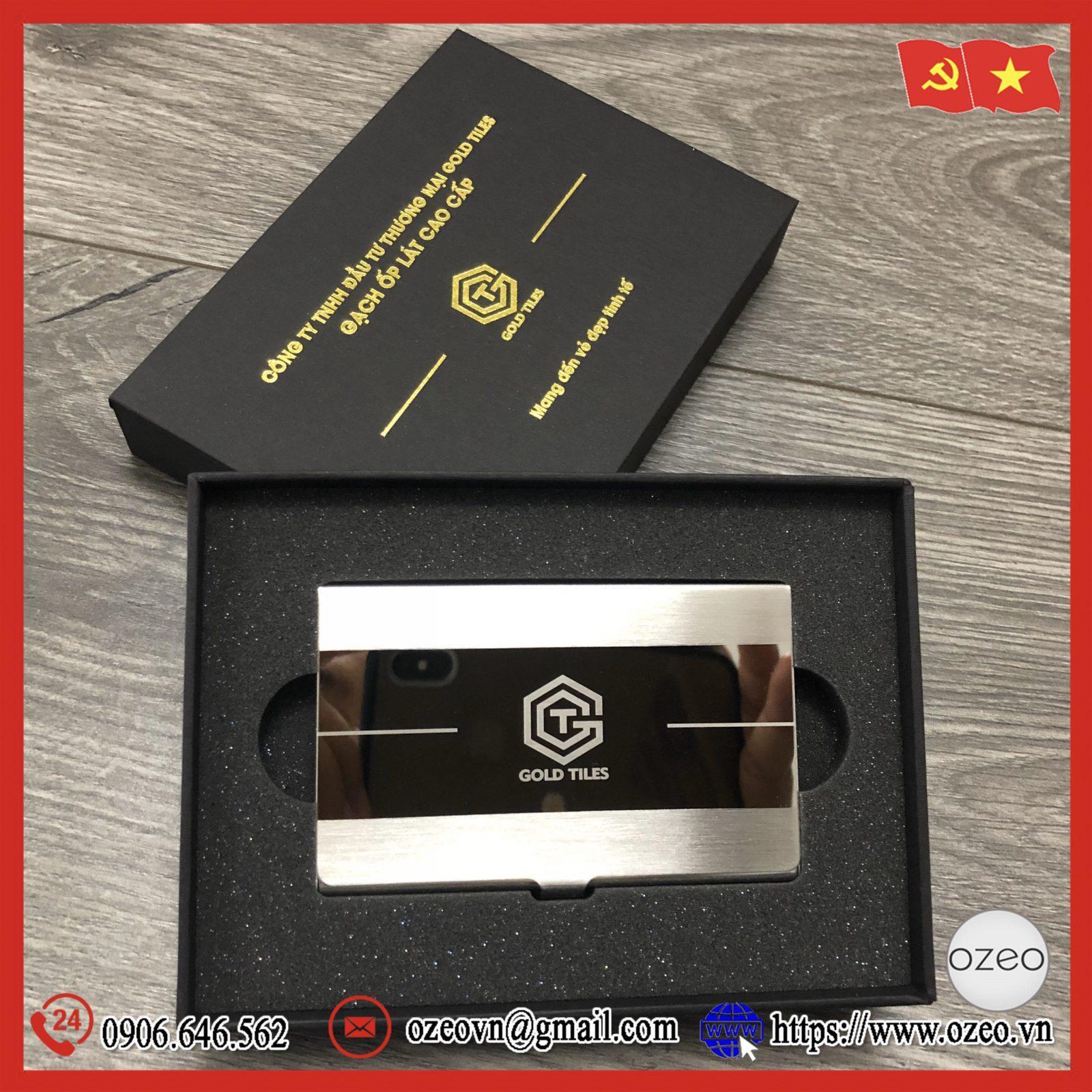 Hộp đựng name card inox NC063 khắc logo Gold Tiles