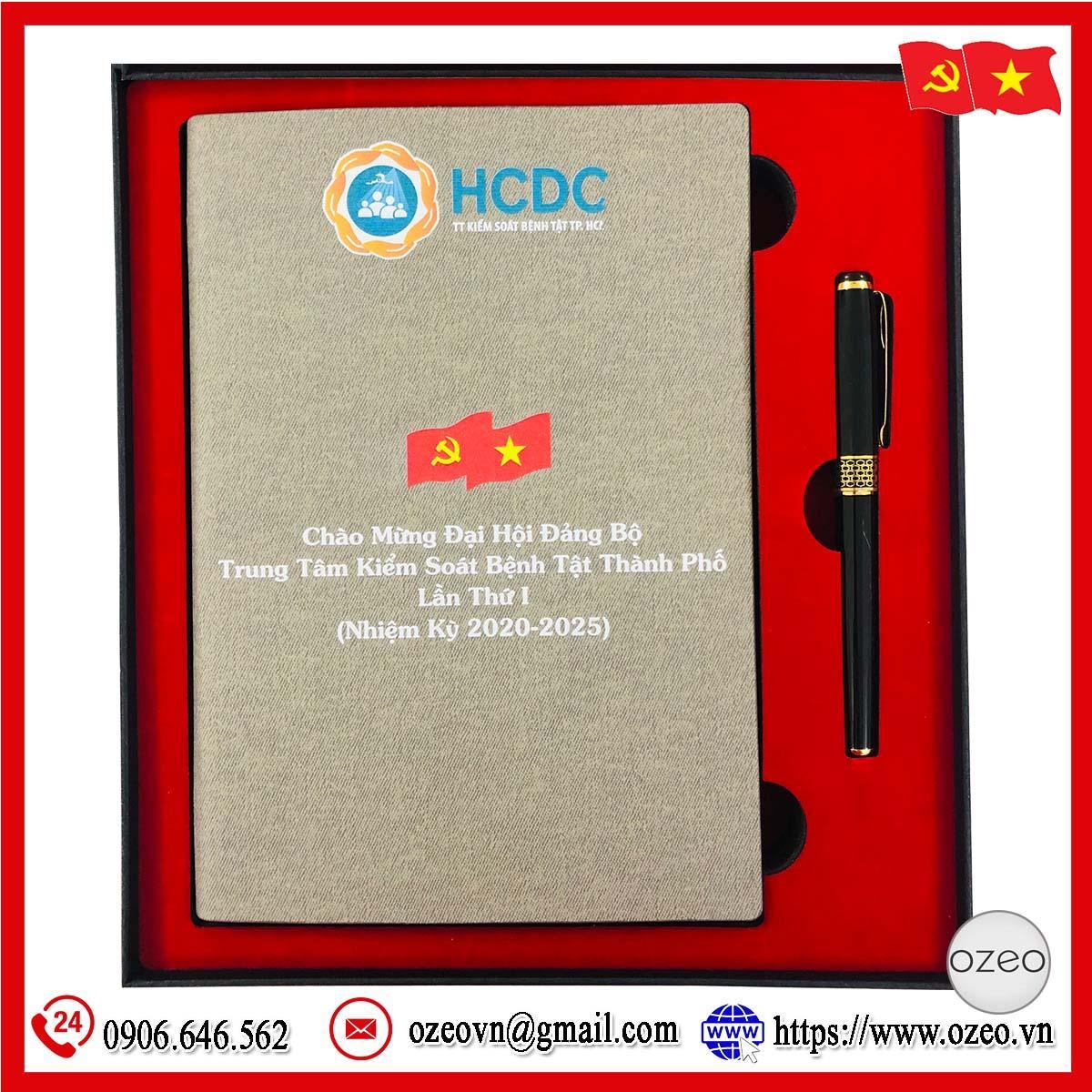 Bộ quà tặng sổ da và bút in logo làm quà tặng Đại hội Đảng của HCDC