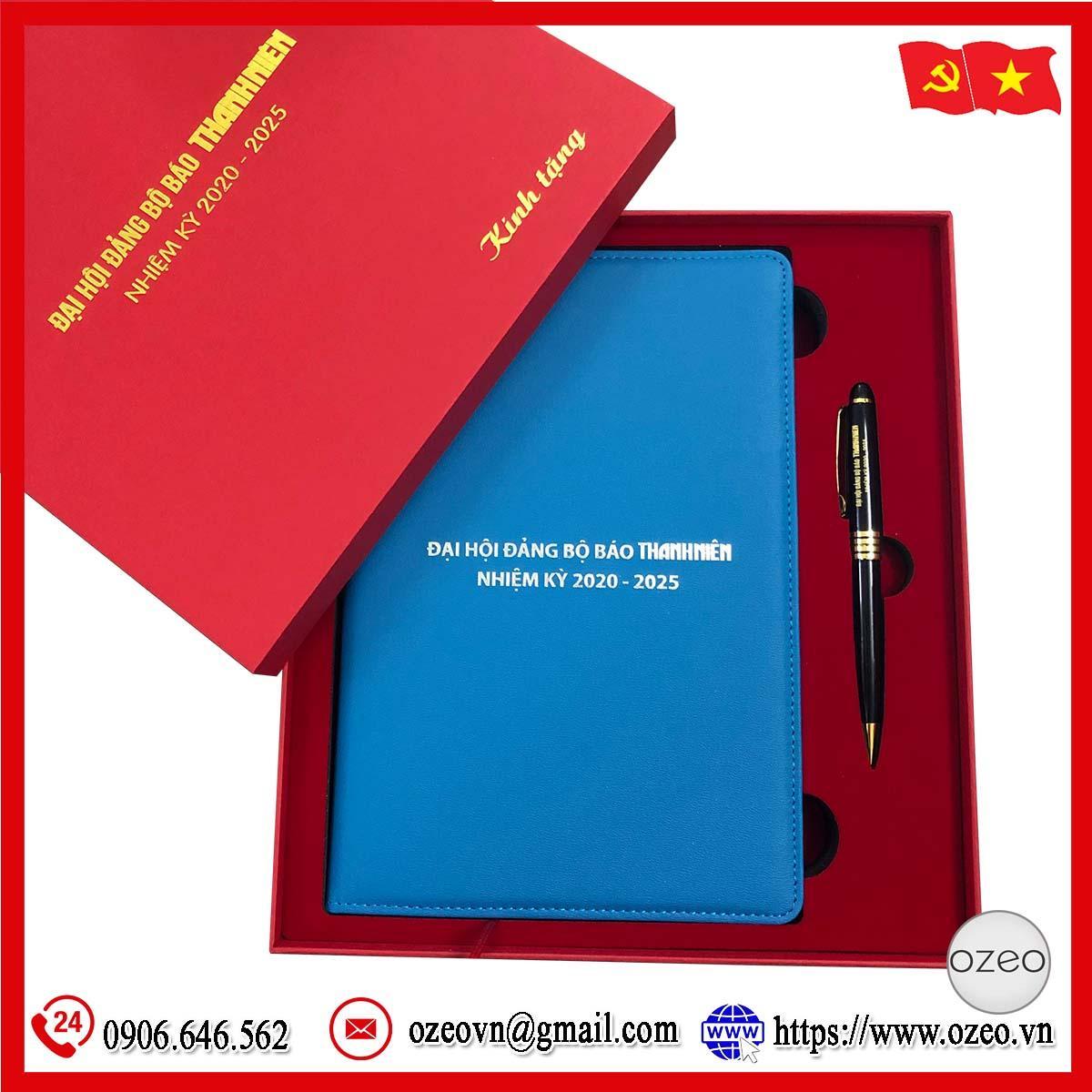 Combo sổ da và bút ký làm quà tặng cho Đại hội Đảng báo Thanh Niên