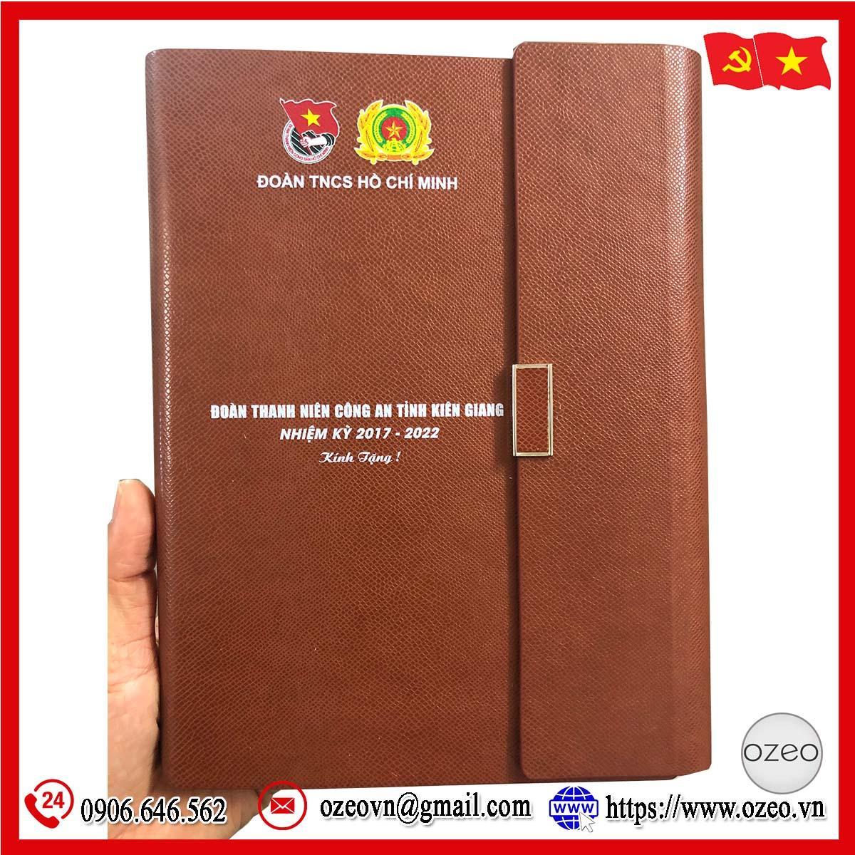 Sổ da quà tặng Đại hội Đảng in logo làm quà tặng tỉnh Kiên Giang