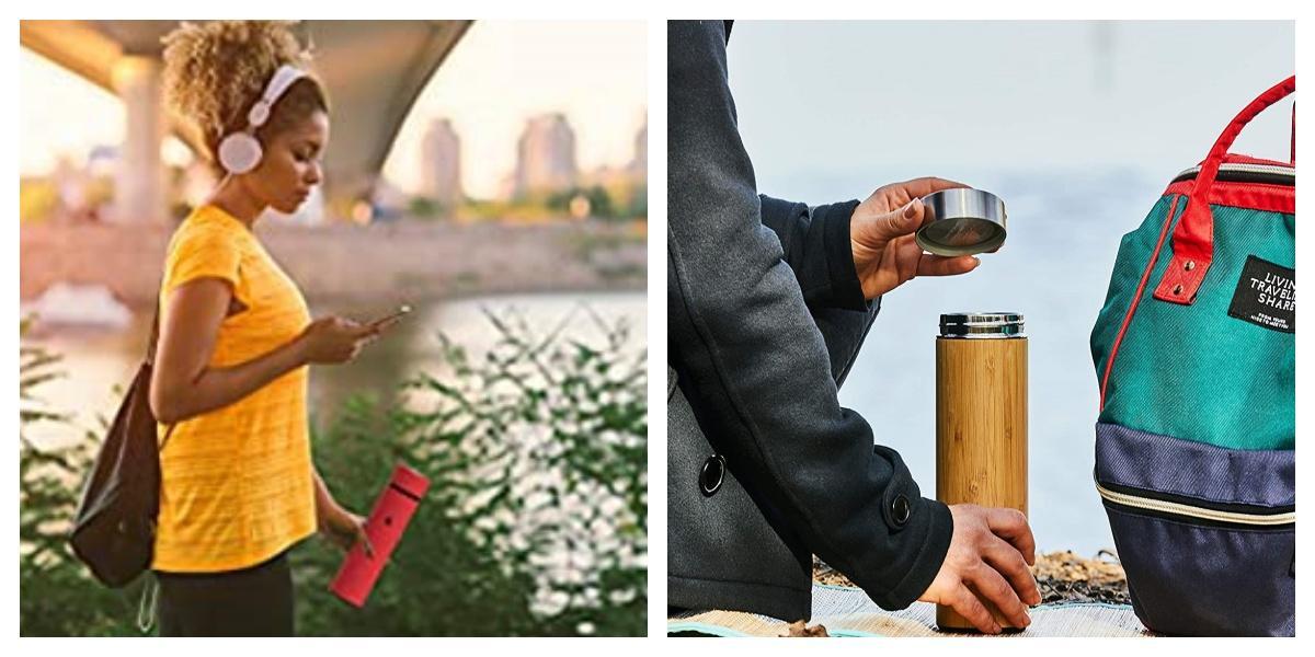 Bình giữ nhiệt vỏ tre GNT01 và bình giữ nhiêt inox GN01 gọn nhe, tiện dụng.