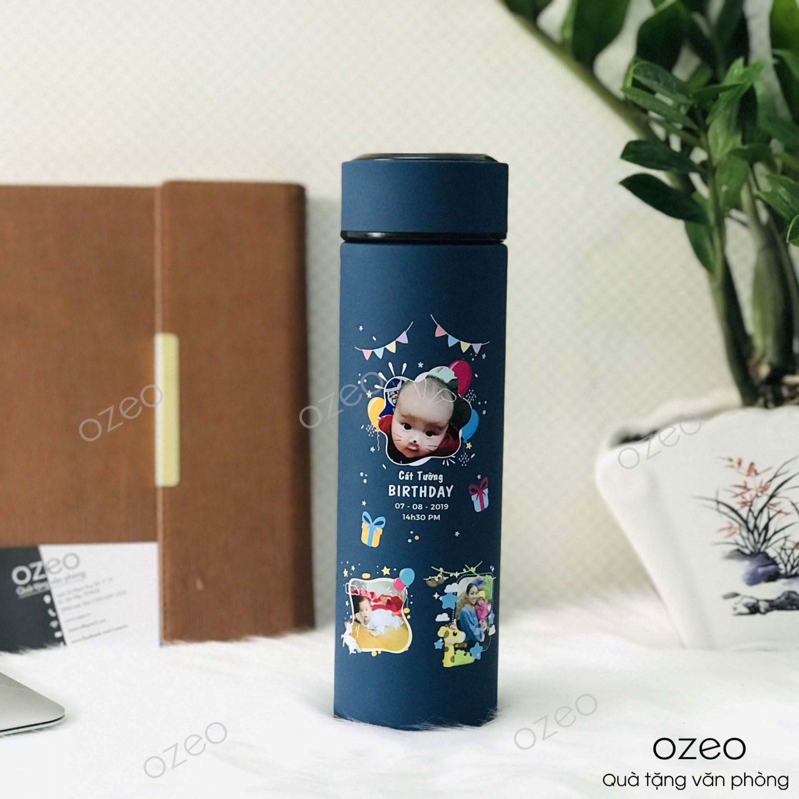 Bình giữ nhiệt GN01XD màu xanh dương in hình người thân làm quà lưu niệm