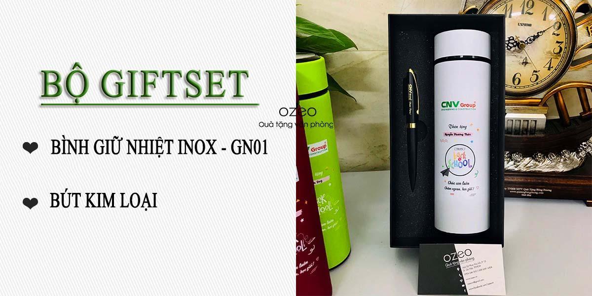 Bộ Giftset bình giữ nhiệt inox GN01 in hình và bút kim loại khắc laser giá 440.000đ
