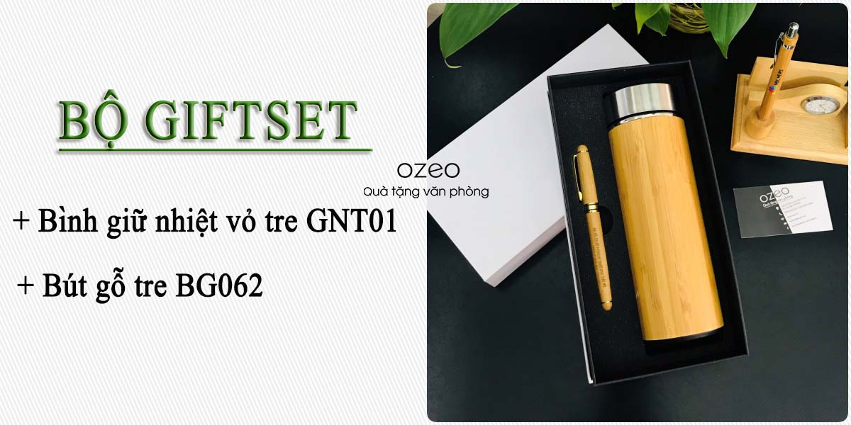 Bộ Giftset bình giữ nhiệt vỏ tre GNT01 và bút gỗ tre BG062 in logo/hình ảnh giá 390.000đ