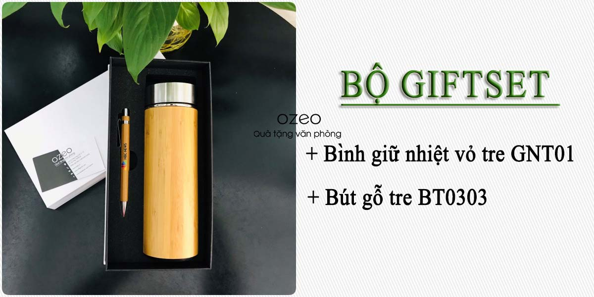 4. Bộ Giftset bình giữ nhiệt vỏ tre GNT01 và bút gỗ tre BT0303 in logo/hình ảnh giá 360.000đ
