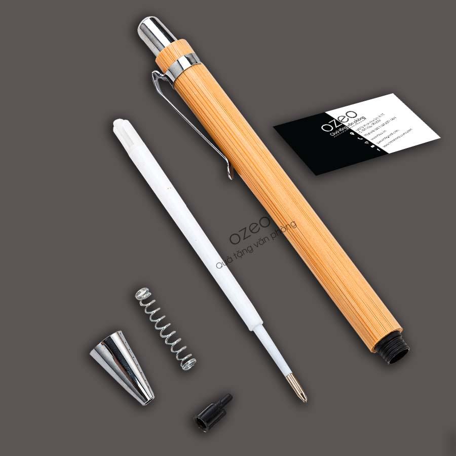 Cấu tạo của bút gỗ tre combo quà tặng 8 tháng 3 - CB8-3T10