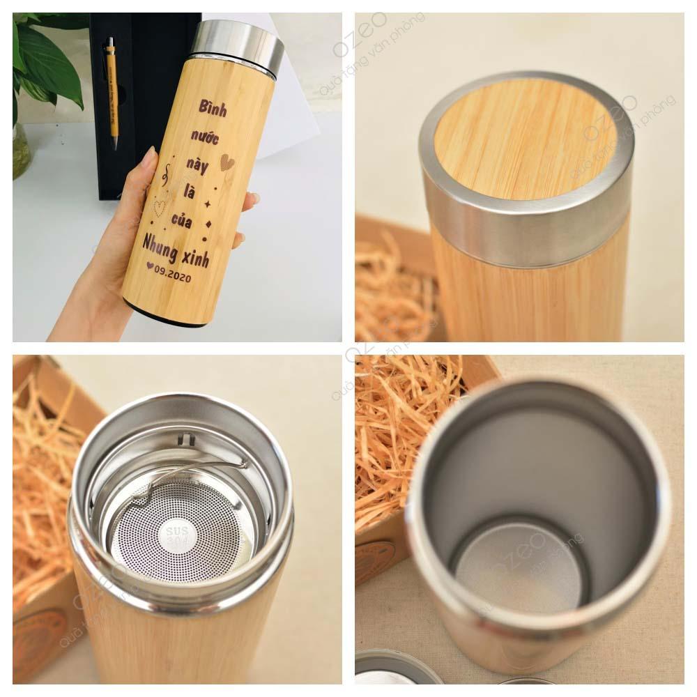 Bình giữ nhiệt tre khắc logo có thân bình bằng gỗ tre, trúc, lõi bình làm từ inox 304.