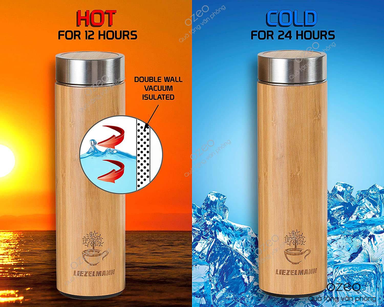 Bình giữ nhiệt vỏ tre khắc logo một sản phẩm giữ nhiệt hoàn hảo và thân thiện môi trường.