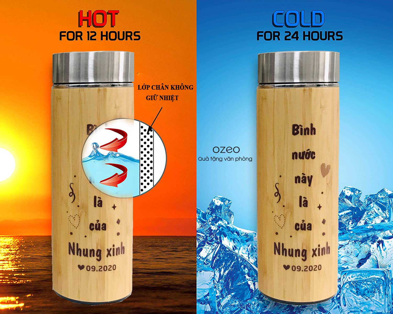 Bình giữ nhiệt vỏ tre có khả năng giữ nóng đến 12 tiếng, giữ lạnh đến 24 tiếng.