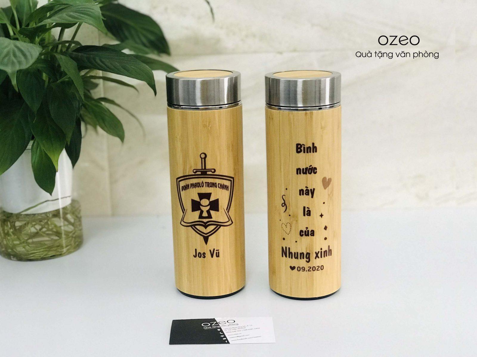 Bình giữ nhiệt có vỏ ngoài được làm từ gỗ tre trúc tự nhiên