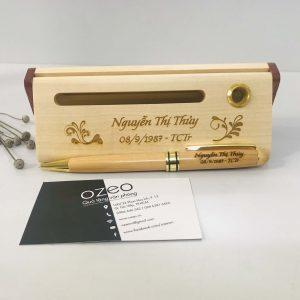 Quà tặng Giftset bộ bút gỗ khắc chữ, khắc tên tặng bạn.