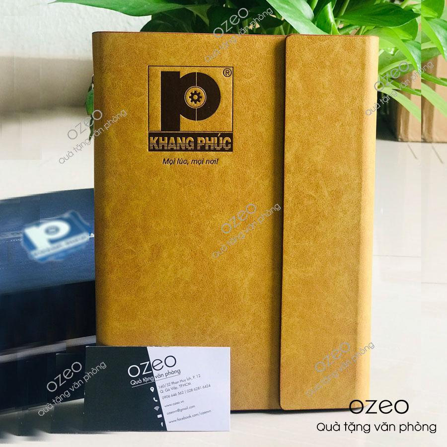 Sổ tay bìa da cao cấp ép lún logo Công ty cổ phần công nghệ Khang Phúc.