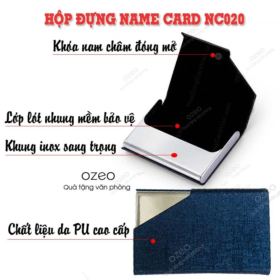 Phần nắp của hộp đựng name card đẹp NC020 có khóa nam châm tiện dụng.