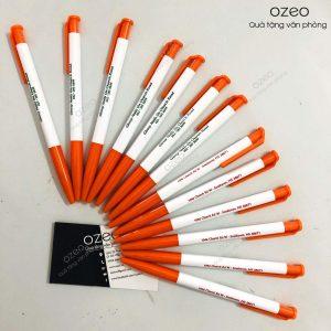 Bút bi nhựa thiên long TL023 màu cam in logo công ty
