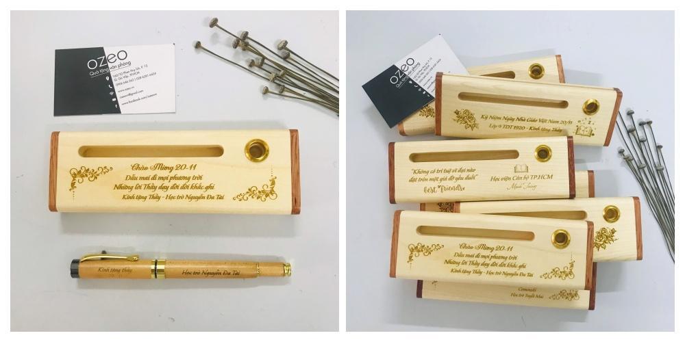 Quà tặng bút bi bằng gỗ để bàn khắc logo doanh nghiệp làm quà tặng Tết độc đáo.