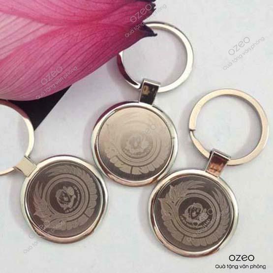 Móc khóa kim loại tròn MK001 khắc logo làm quà tặng doanh nghiệp
