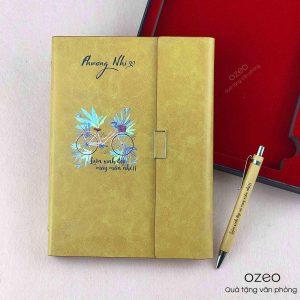Bộ Giftset Sổ Tay, Bút Và Bình Giữ Nhiệt Màu Vàng – G01V | Quà Tặng 20-10
