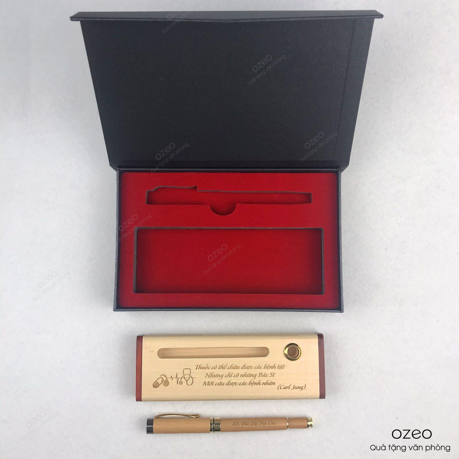 Bộ bút gỗ cao cấp làm quà tặng bác sĩ khắc tên/logo theo yêu cầu.