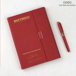 Bộ Giftset In Logo – Sổ Tay Màu Đỏ LSA5-01B Và Bút Kim Loại BK06 Đỏ