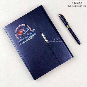 Bộ Giftset In Logo – Sổ Tay Màu Xanh LSA5-01B Và Bút Kim Loại BK06 Xanh